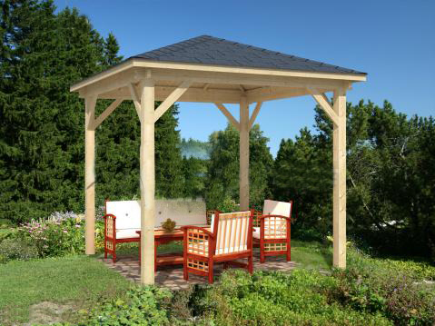 Movilrodan pergola madera 3x3 for Casitas madera jardin