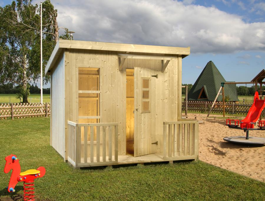 Movilrodan casita de madera para ni os modelo harry - Casita con tobogan para ninos ...